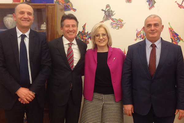 Albanian Athletics Secretary Nikolin Dionisi, Minister of Education and Sports Lindita Nikolla, IAAF President Sebastian Coe and Albanian Athletics President Gergj Ruli ()