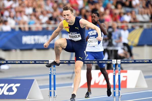 Karsten Warholm on his way to winning the 400m hurdles at the IAAF Diamond League meeting in Paris (Gladys Chai von der Laage)
