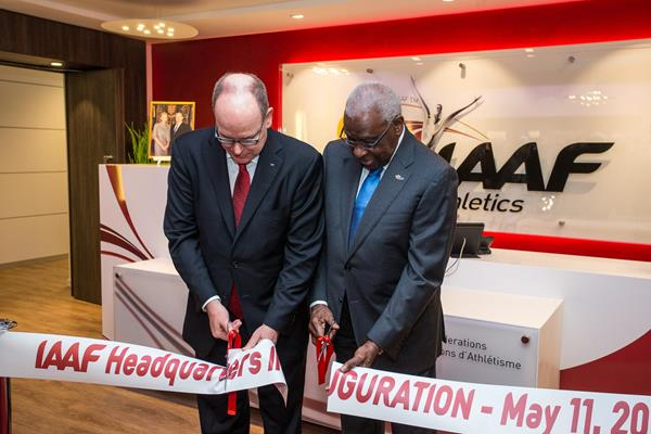 HSH Prince Albert II of Monaco and  IAAF President Lamine Diack at the inaugeration of the new IAAF HQ (IAAF / Philippe Fitte)