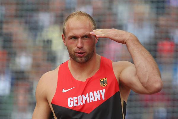 Robert Harting of Germany reacts as he competes in the Men's Discus Throw qualification on Day 10 of the London 2012 Olympic Games at the Olympic Stadium on August 6 2012 (Getty Images)