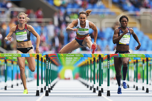 Jessica Ennis-Hill in the heptathlon 100m hurdles at the Rio 2016 Olympic Games (Getty Images)
