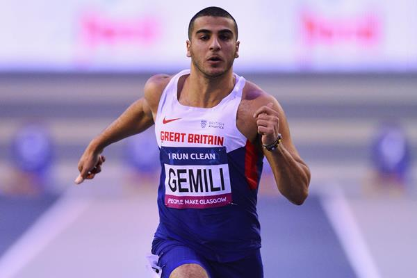 Adam Gemili in the 60m at the Glasgow Indoor Grand Prix (Getty Images)