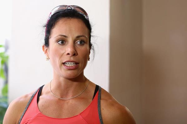 US pole vaulter Jenn Suhr talks to the press (Getty Images)