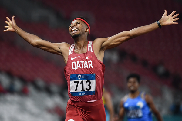 Abderrahman Samba wins the 400m hurdles at the Asian Games (AFP / Getty Images)
