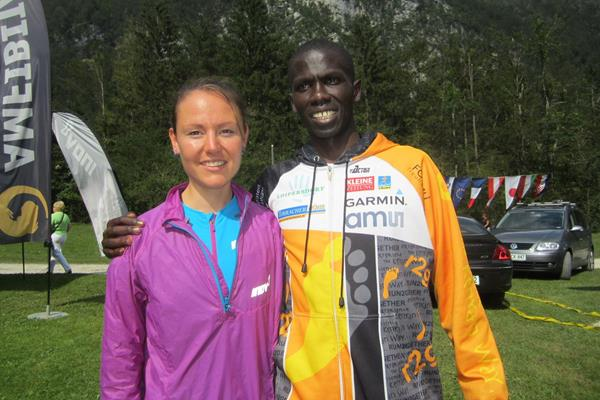 Mateja Kosovelj and Isaac Kosgei after winning the 2014 Gorski tek na Grintovec mountain race (WMRA / organisers)