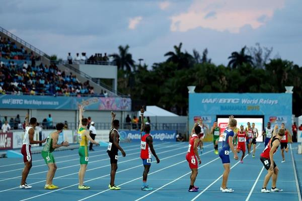 The men's 4x400m heats at the IAAF/BTC World Relays, Bahamas 2015 (Getty Images)