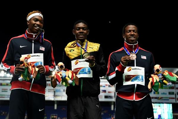 Boys' 400m medallists at the IAAF World Youth Championships, Cali 2015 (Getty Images)