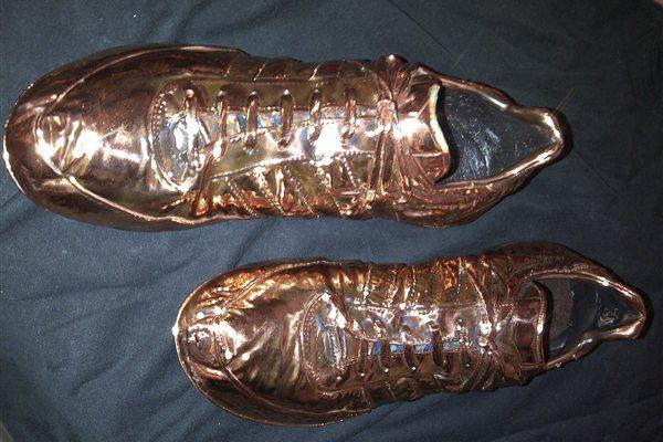 Spikes worn by Don Quarrie when winning the 1976 200m Olympic gold (Courtesy Don Quarrie)