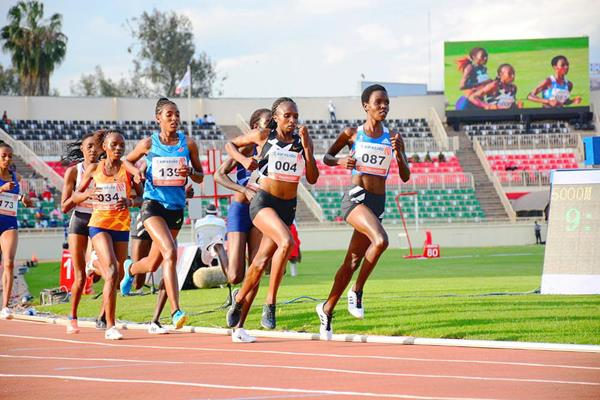 Hellen Obiri (004) on her way to winning the 5000m at the Continental Tour Gold meeting in Nairobi (Organisers)