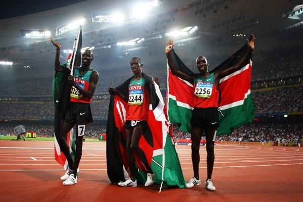 The Kenyan steeplechasers celebrate their two medals in the Olympic final (Getty Images)