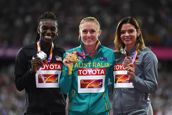 Dawn Harper Nelson, Sally Pearson and Pamela Dutkiewicz at the IAAF World Championships London 2017 (Getty Images)