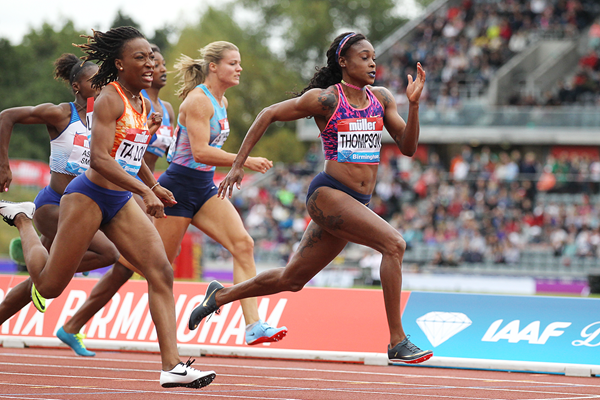 Elaine Thompson wins the 100m at the IAAF Diamond League meeting in Birmingham (Jean-Pierre Durand)