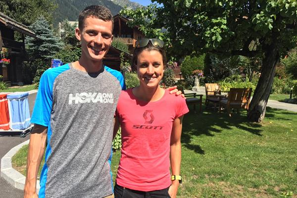 Trail runners Jim Walmsley and Ruth Croft in Chamonix (IAAF)