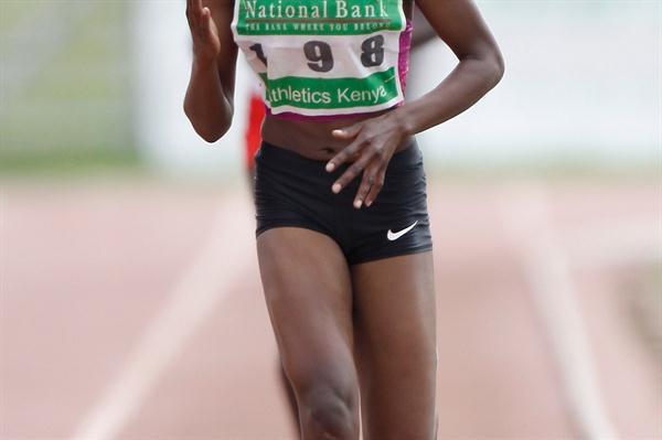 Faith Chepng'etich at the World Junior Trials in Nairobi (Martin Mukangu / The Standard)