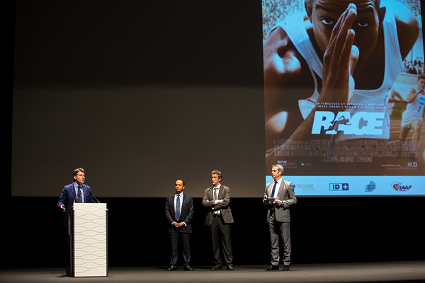 IAAF President Sebastian Coe at the European premiere of Race (Philippe Fitte / IAAF)