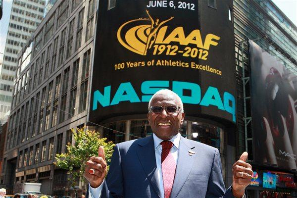 IAAF President Lamine Diack with with the famous NASDAQ ticker (Victah Sailer)