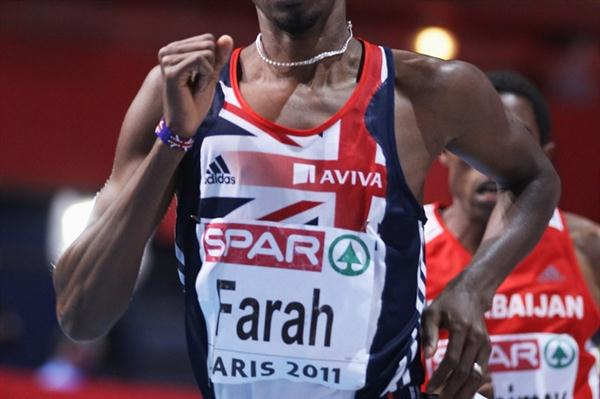 Mo Farah on the way to a successful 3000m title defence in Paris (Getty Images)