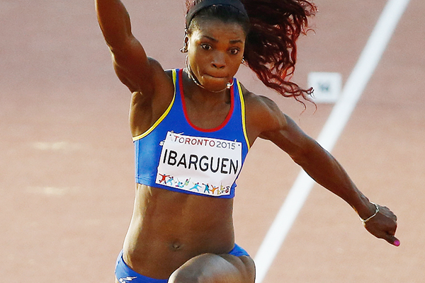 Caterine Ibarguen on her way to winning the triple jump at the Pan American Games (Getty Images)