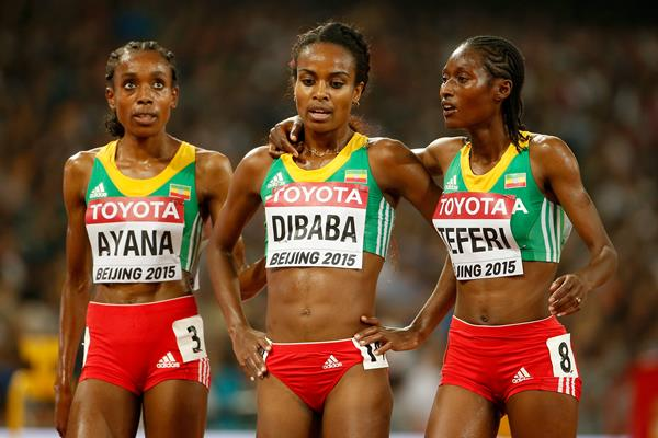 5000m medallists Almaz Ayana, Genzebe Dibaba and Senbere Teferi at the IAAF World Championships, Beijing 2015 (Getty Images)