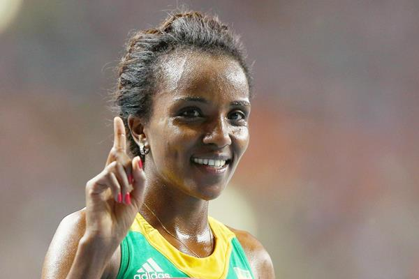 Tirunesh Dibaba of Ethiopia celebrates her victory (Getty Images)