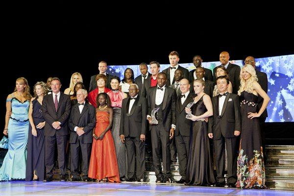 Several reigning World champions and other award winners on stage at the 2011 World Athletics Gala in Monaco (Philippe Fitte)