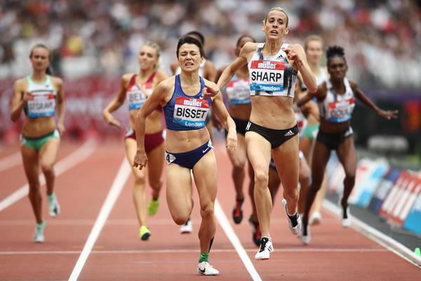Catriona Bisset en route to the Australian national 800m record at the 2019 London Diamond League meeting (Getty Images)