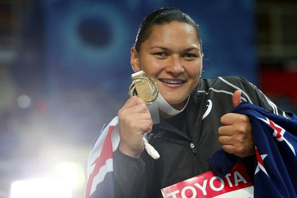 Valerie Adams in the womens Shot Put Medal Ceremony at the IAAF World Athletics Championships Moscow 2013 (Getty Images)