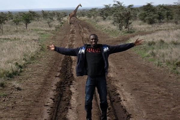 Usain Bolt with his biggest fan, a central Kenyan giraffe (Elias Makori)