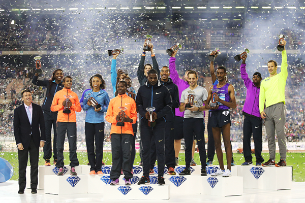 The 16 Diamond Race winners from the IAAF Diamond League final in Brussels (Giancarlo Colombo)
