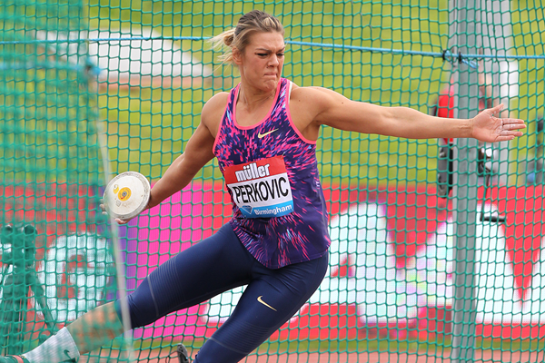 Discus winner Sandra Perkovic at the IAAF Diamond League meeting in Birmingham (Jean-Pierre Durand)