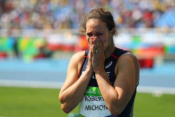 Melina Robert-Michon after taking silver in the discus at the Rio 2016 Olympic Games (Getty Images)
