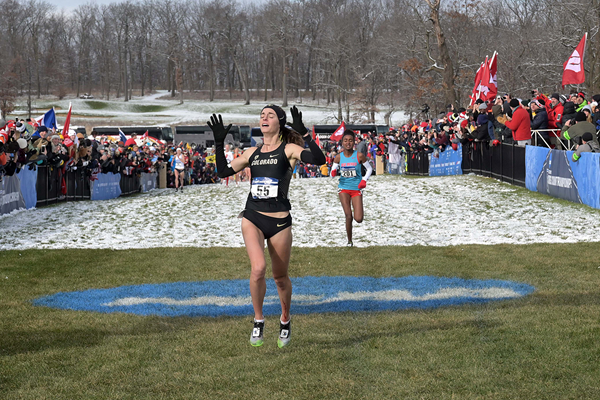 Dani Jones wins the NCAA cross-country title (Kirby Lee)