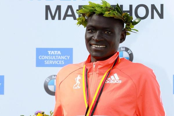 Dennis Kimetto after setting a marathon world record at the 2014 BMW Berlin Marathon (Organisers / photorun.net)