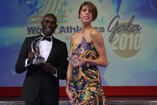 2010 World Athletes of the Year David Rudisha and Blanka Vlasic at the IAF Gala in Monaco (Getty Images)