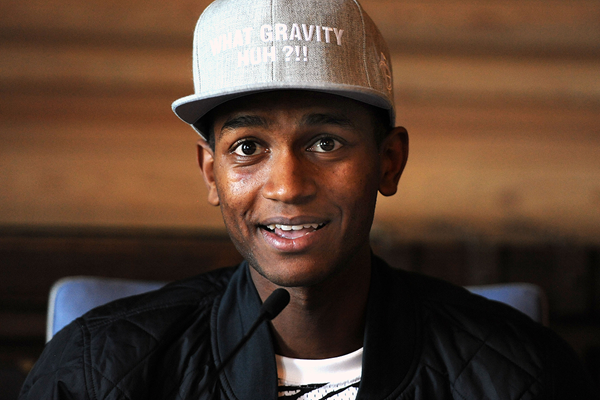 Mutaz Essa Barshim at the press conference for the IAAF Diamond League meeting in Oslo (Mark Shearman)
