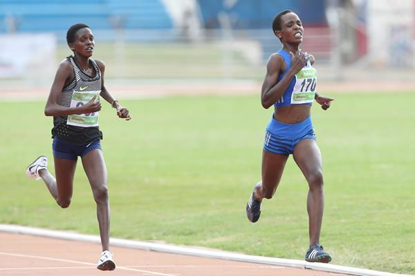 Agnes Tirop leads Irene Cheptai in the 10,000m at the Kenyan world championships trials in Nairobi (Stafford Ondego)
