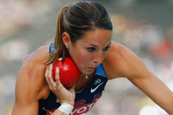 Diana Pickler of the USA during the women's Heptathlon Shot Put (Getty Images)