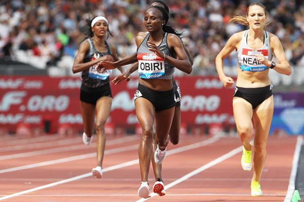 Hellen Obiri wins the 5000m at the IAAF Diamond League meeting in London (Jean-Pierre Durand)