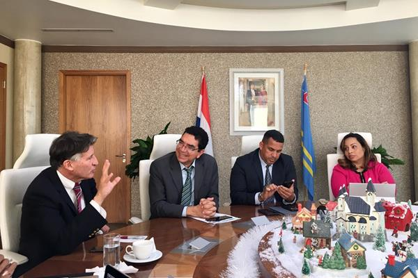 IAAF President Sebastian Coe at a meeting with officials at the Government House in Aruba (IAAF)