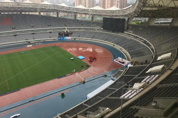 A rainy stadium in Shanghai (Steve Landells)