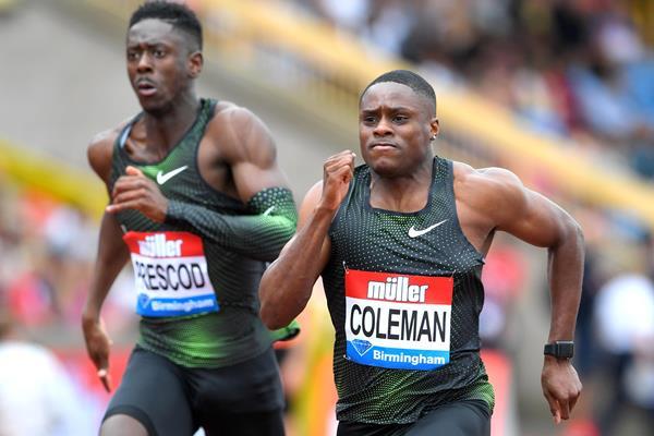 Christian Coleman en route to a narrow 100m win in Birmingham (Jiro Mochizuki)