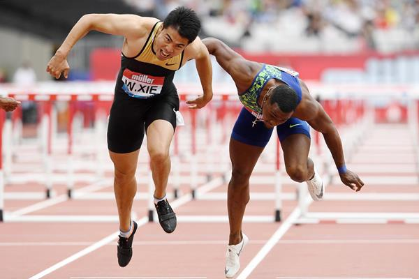 Xie Wenjun wins the 110m hurdles at the IAAF Diamond League meeting in London (Jean-Pierre Durand)
