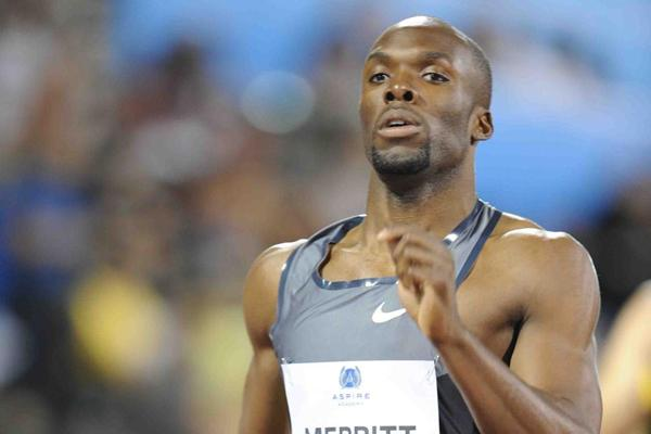 LaShawn Merritt in the 400m at the 2012 Samsung Diamond League in Doha (Jiro Mochizuki)