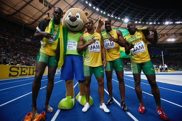The men's 4x100m winners (L-R) Usain Bolt, Michael Frater, Asafa Powell and Steve Mullings of Jamaica in Berlin (Getty Images)