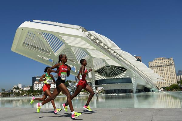 Jemima Sumgong, Eunice Kirwa and Mare Dibaba in the marathon at the Rio 2016 Olympic Games (Getty Images)