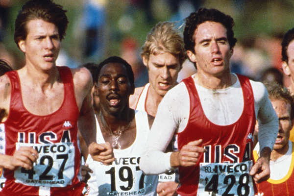 USA's Alberto Salazar (right) at the World Cross Country Championships (Getty Images)