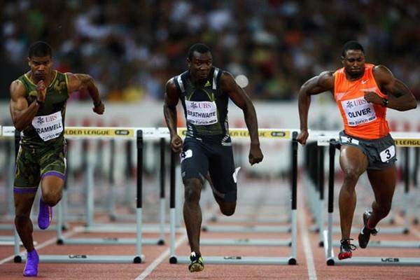 (L-R) Terrence Trammell, Ryan Brathwaite and David Oliver compete in the men's 110m hurdles at the IAAF Golden League (Getty Images)
