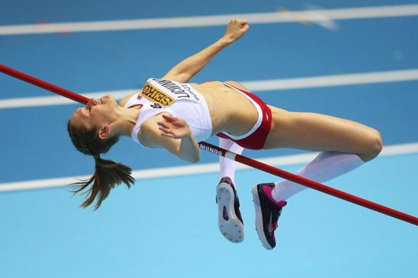 Kamila Licwinko on her way to winning the high jump (Getty Images)