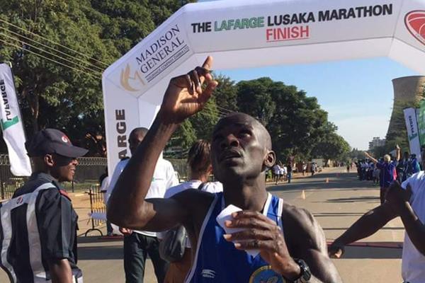 An athlete finishing the Lusaka Marathon (organisers)