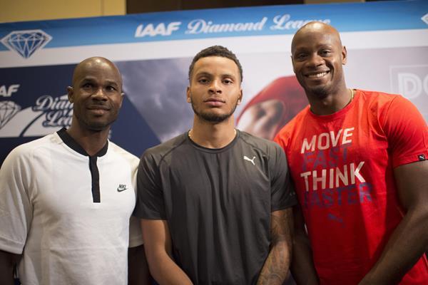 Kim Collins, Andre de Grasse and Asafa Powell in Doha (Hasse Sjogren)